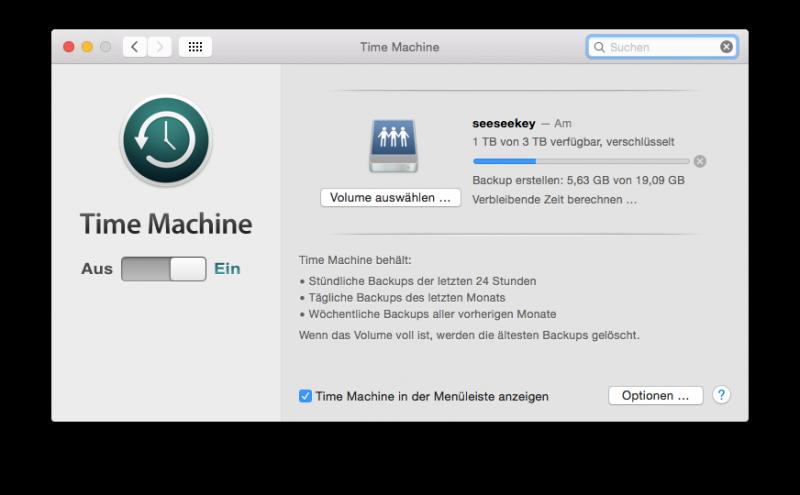 Time Machine sichert die Daten