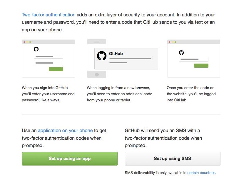 GitHub unterstützt zwei Varianten der Zwei-Faktor-Authentifizierung