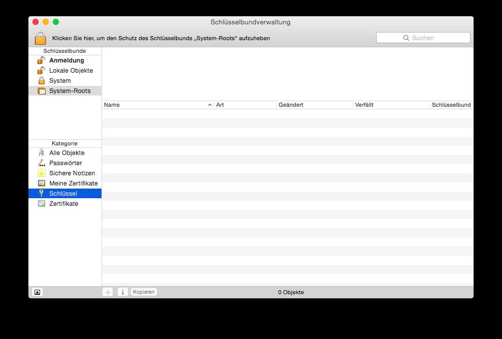 Die Schlüsselbundverwaltung unter Mac OS X