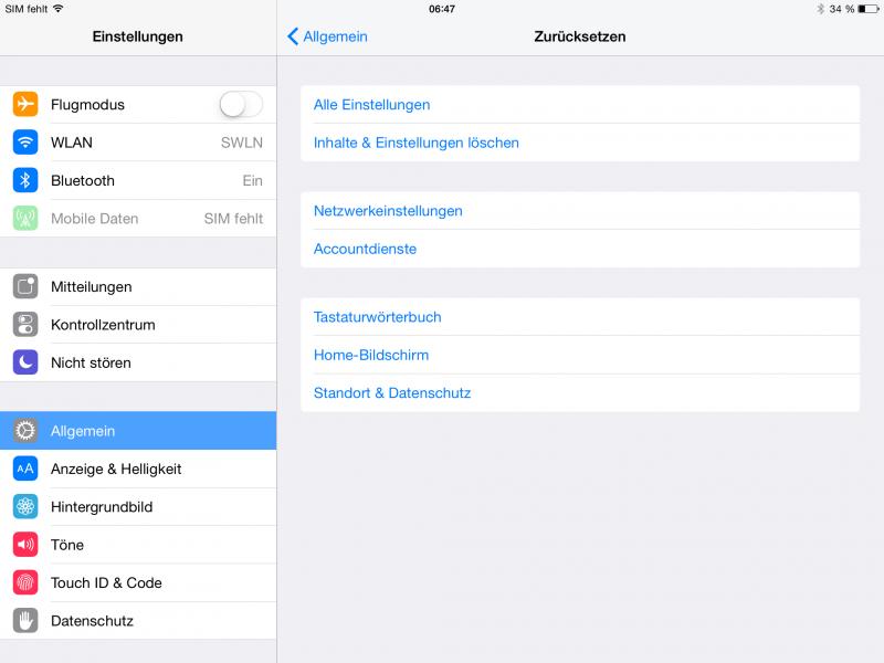 Die Einstellungen zum Zurücksetzen unter iOS
