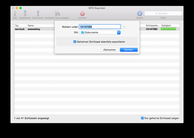 Die GPG Keychain unter Mac OS X