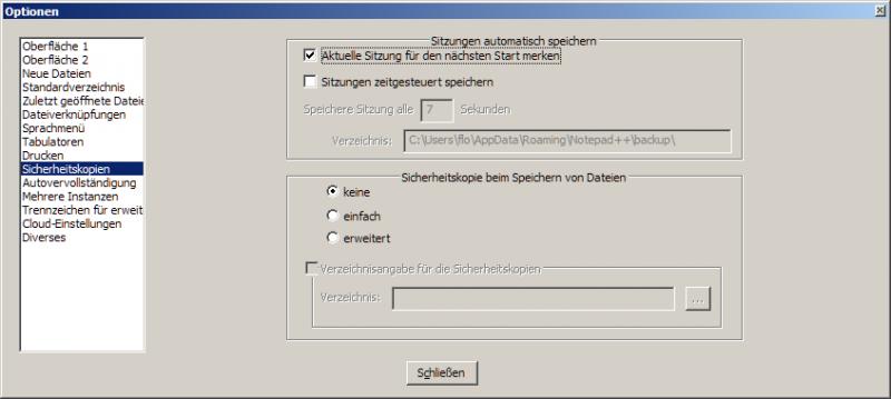 Die Einstellungen von Notepad++
