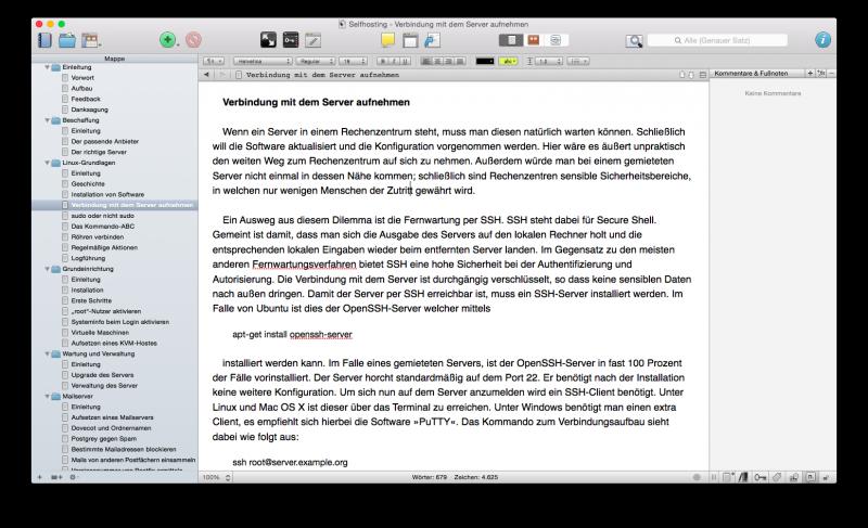 Scrivener unter Mac OS X