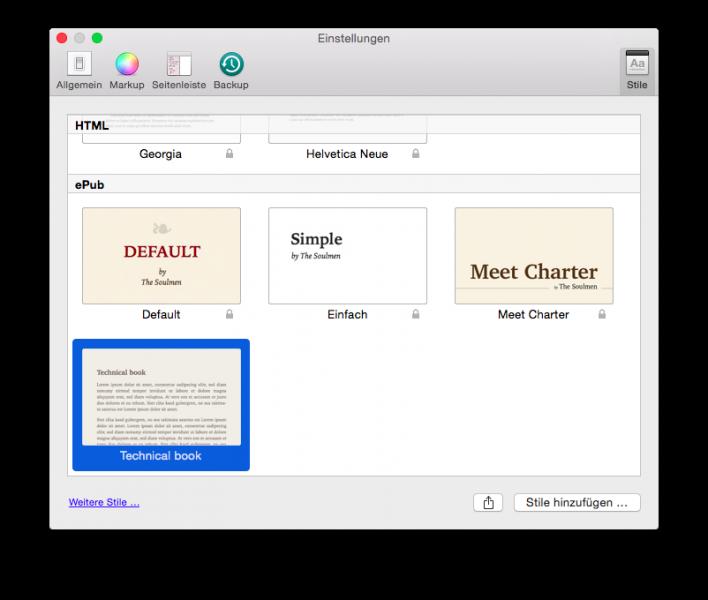 Die Style-Verwaltung von Ulysses unter Mac OS X