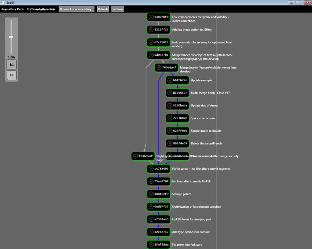 SeeGit mit einem geöffneten Repository