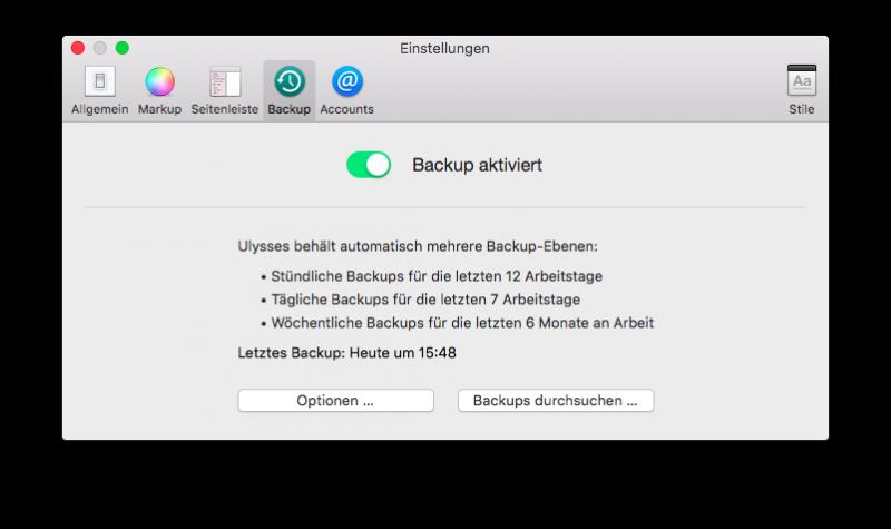 Die Backup-Einstellungen unter Mac OS X