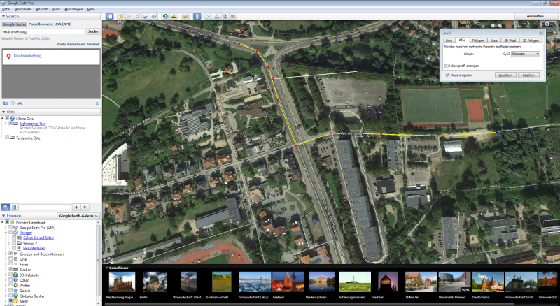 Google Earth Pro mit geöffneten Messwerkzeugen