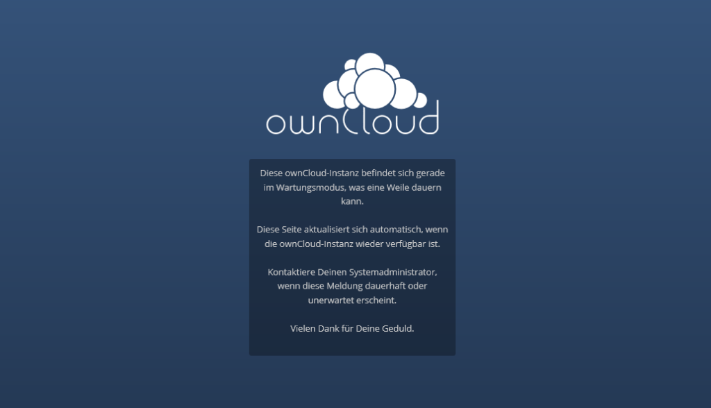 ownCloud im Wartungsmodus