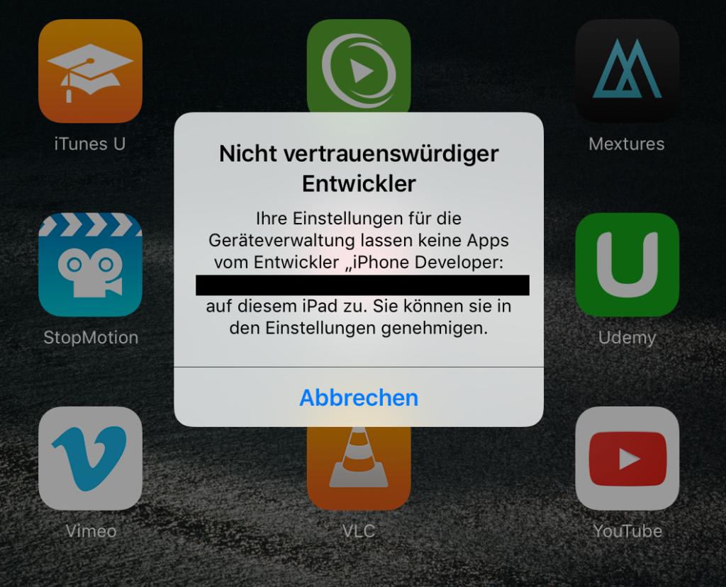 Die App kann nicht gestartet werden