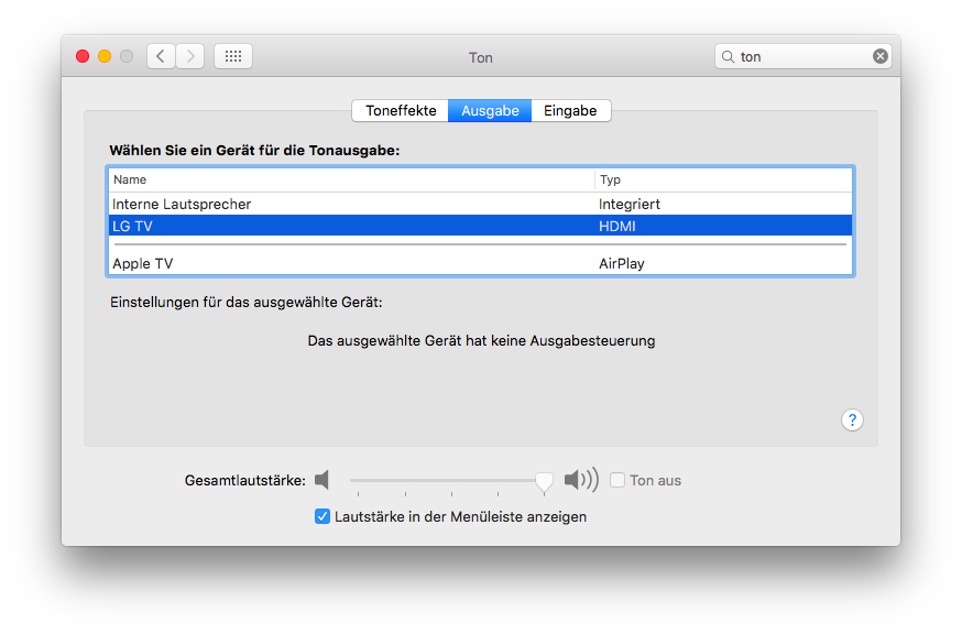 Die entsprechenden Einstellungen unter Mac OS X