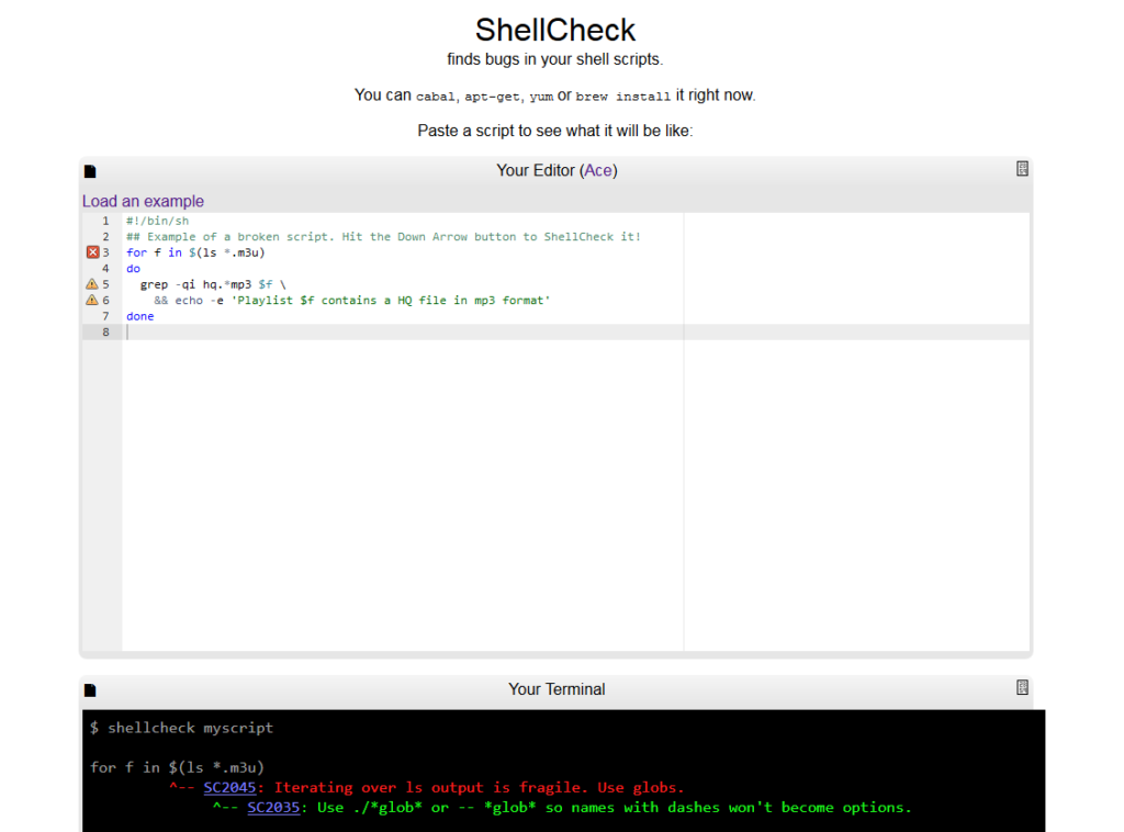 ShellCheck in Aktion