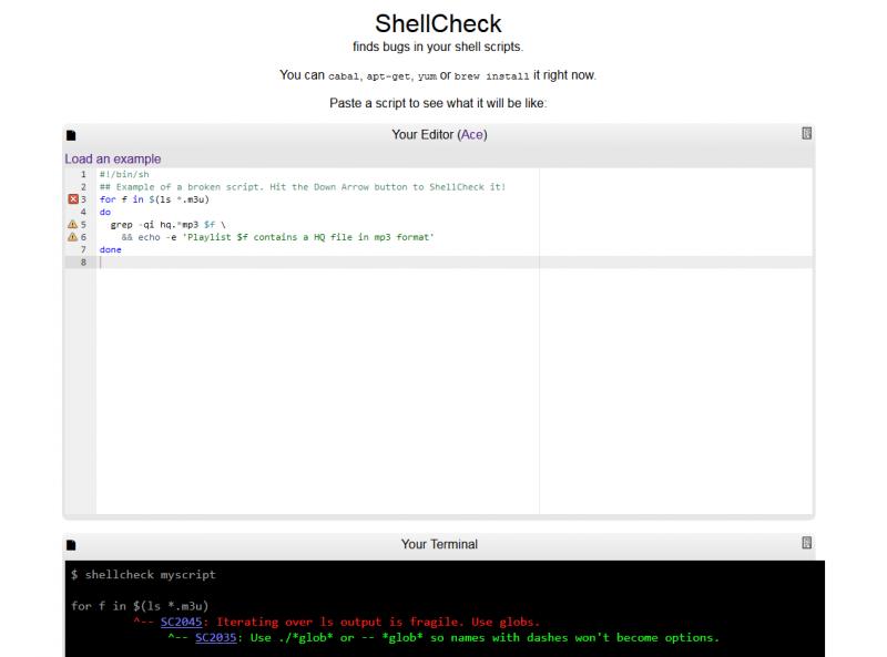 ShellCheck in Aktion