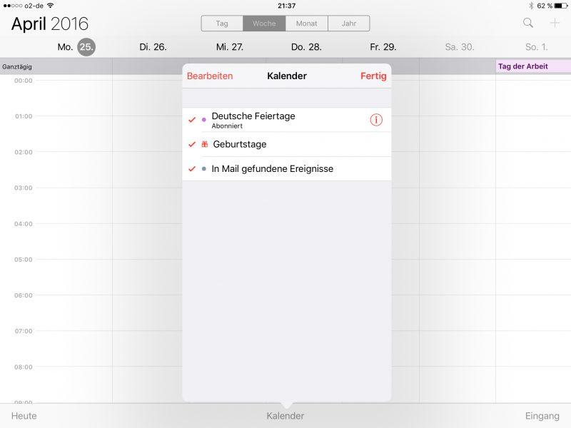 Die Kalenderübersicht ermöglicht die Aktualisierung