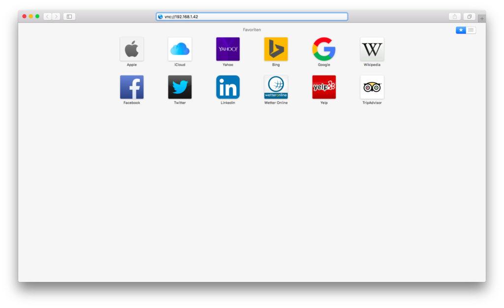 Über Safari kann der VNC-Client gestartet werden